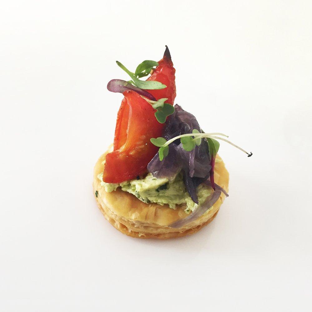 tomato tart with basil creme