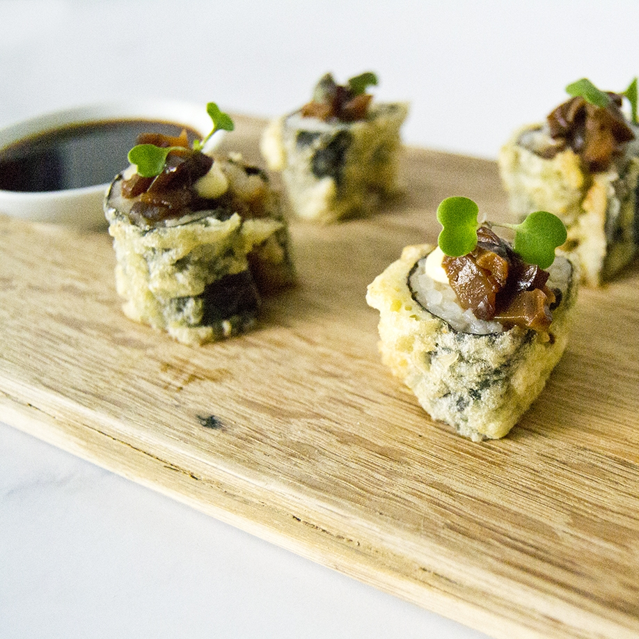 shiitake pickled tempura roll with spring onion pickled ginger coriander and spicy ponzu mayonnaise