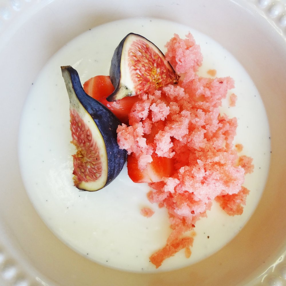 fromage blanc panna cotta with fresh figs & strawberry granita