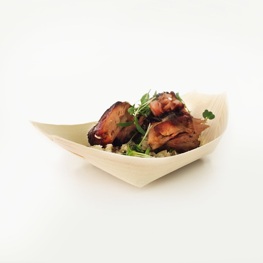 teriyaki glazed confit pork belly with toasted sesame and coriander