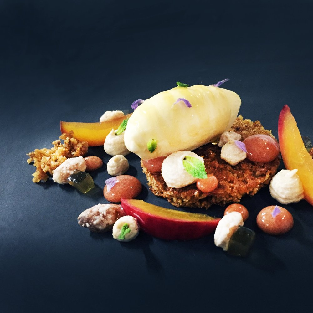 almond and honey cake with nectarine puree, honey jellies, lavendar smoked ice cream, crystalised almonds and lavender compressed stone fruit