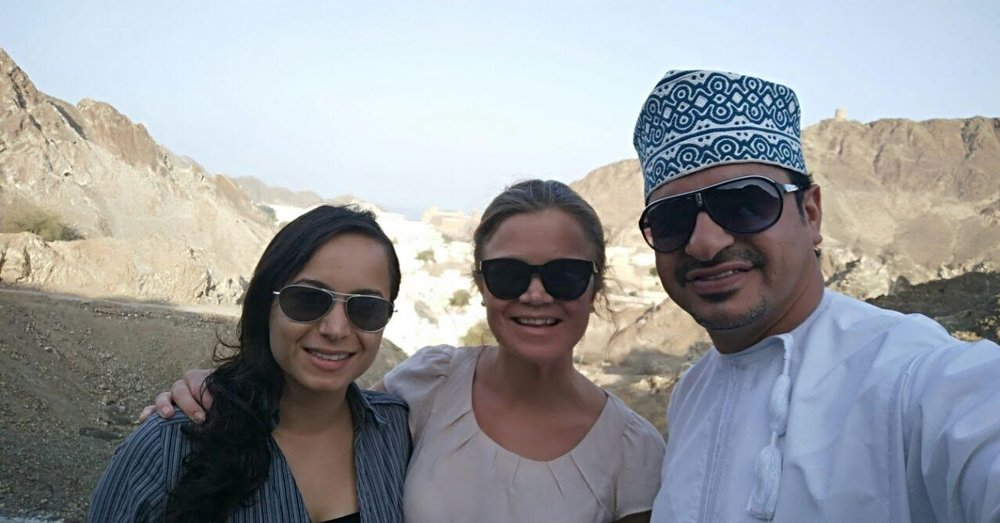 Pamela and Julia with a local tour guide in Oman.
