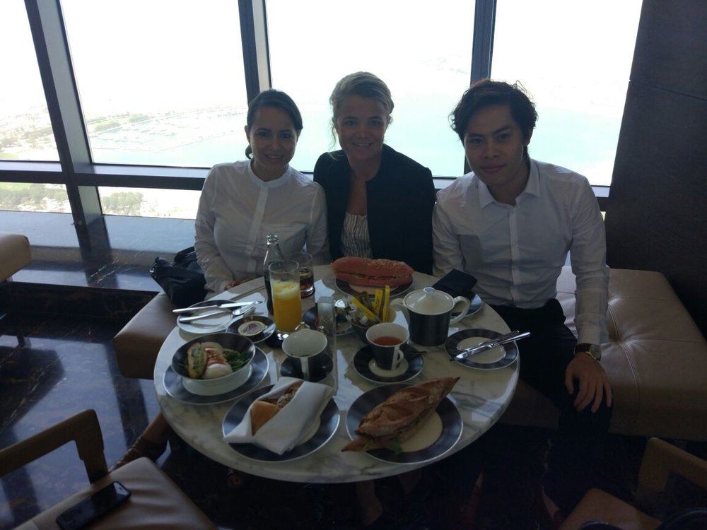 Breakfast meetings with Pamela, Alvin and Julia. Pictured here in Etihad Towers, Abu Dhabi.