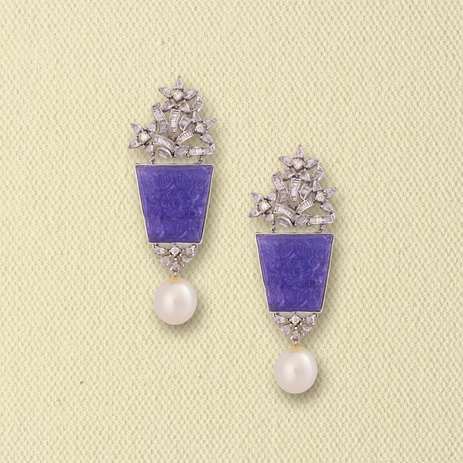 DIAMOND AND TANZANITES EARRINGS WITH SOUTH SEA PEARL DROPS
