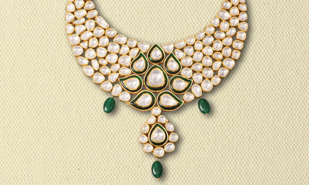 UNCUT DIAMOND NECKLACE WITH EMERALD DROPS