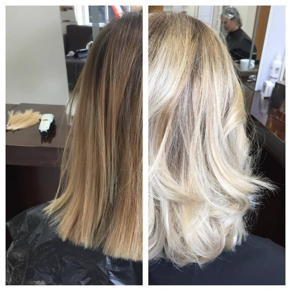 This before base had 2 - 3 balayage applications prior to the transformation on the right.
