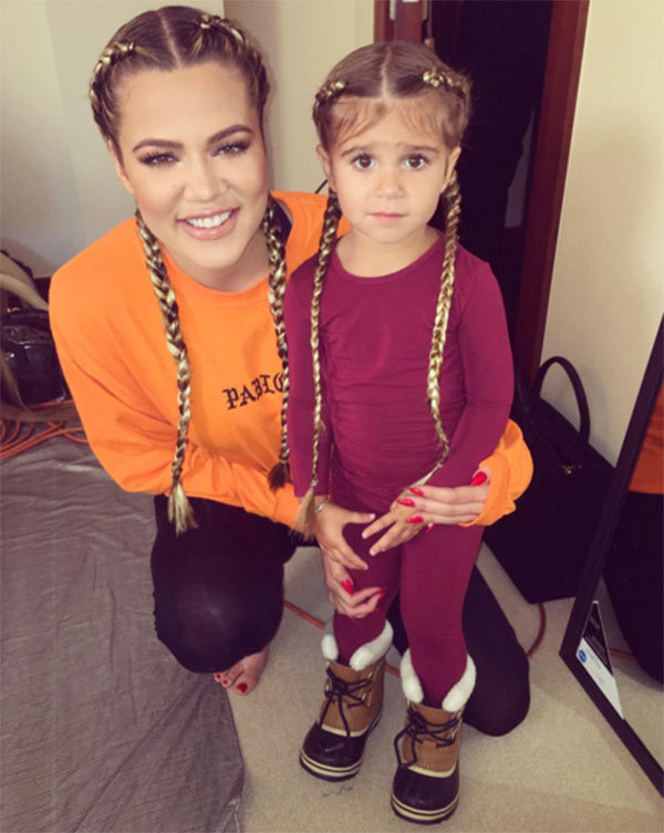 KoKo - Khloe Kardashian Braids Trust Khloe to find a way to look super cool on the slopes. She and her super cute niece pose with matching braids on their family ski trip. Braids can be great under a helmet as it keeps your hair flat to your head and there's no risk of it looking a mess after sweating or crashing lol!