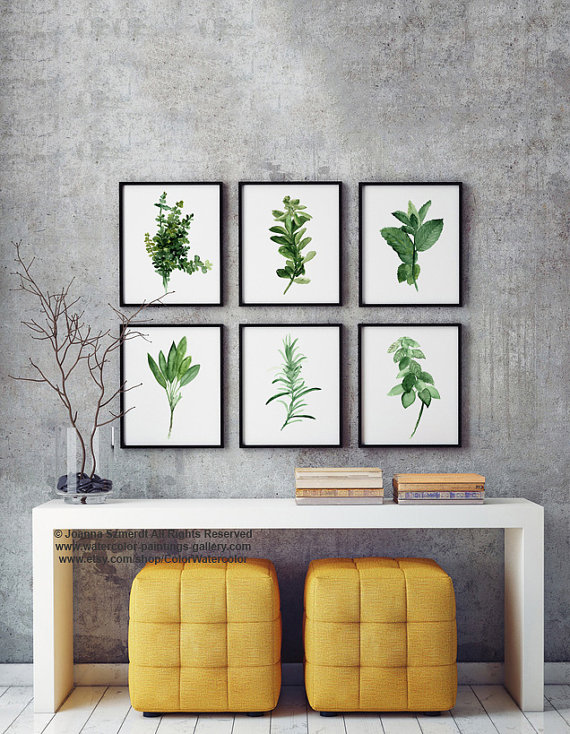 Kitchen Herb Print Green Wall Painting