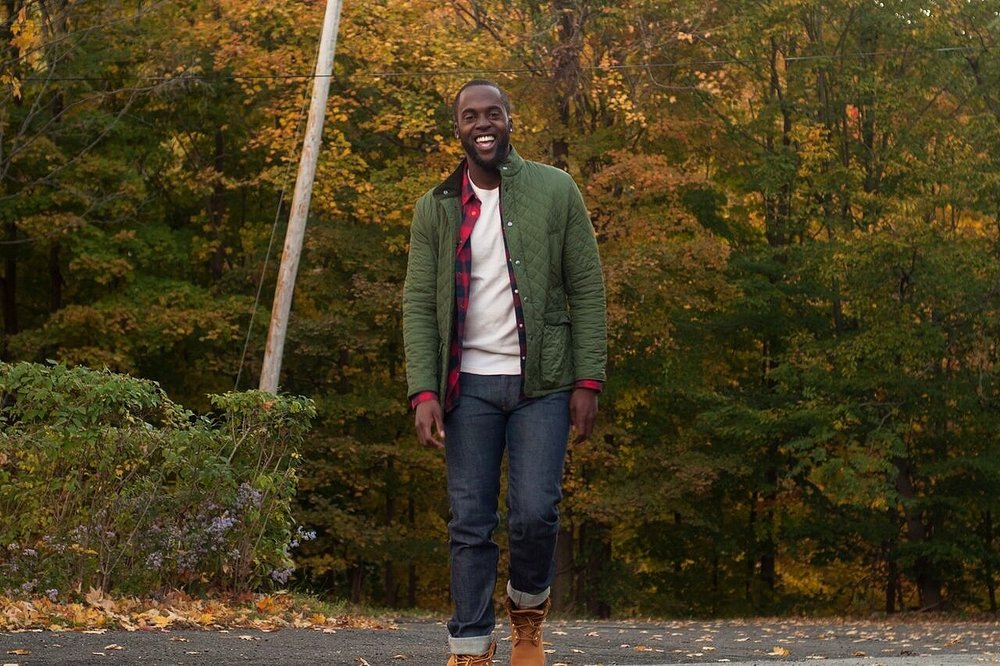 Outdoor-sy Date   Jacket & Plaid Shirt:  H&M , Jeans:  APC , Boots:  Timberland