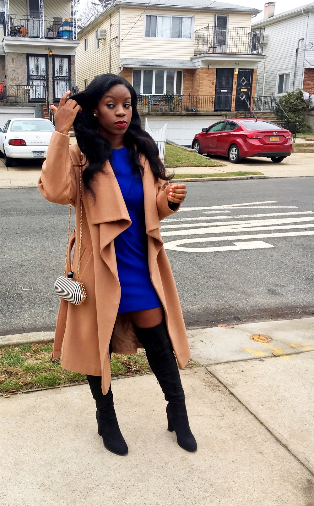 Church & Brunch Date at  Piquant   Coat & Boots:  Asos , Dress:  Boohoo , Bag:  Dynamite