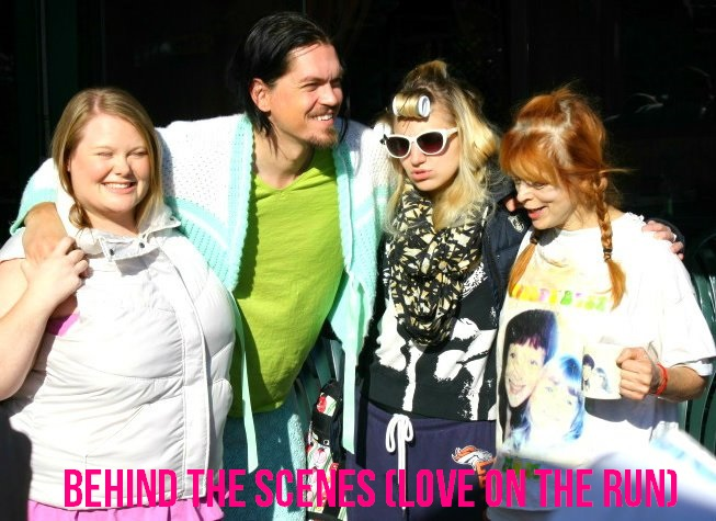 "Jen and castmates Steve Howey, Annaleigh Ashford, and Frances Fisher BTS on ""Love on the Run."""