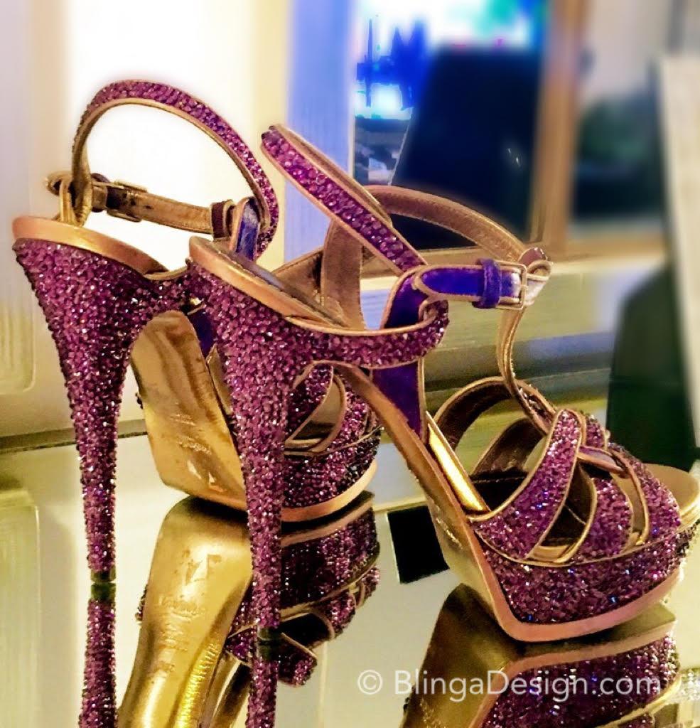 YSL Purple Tribute Crystal Sandals