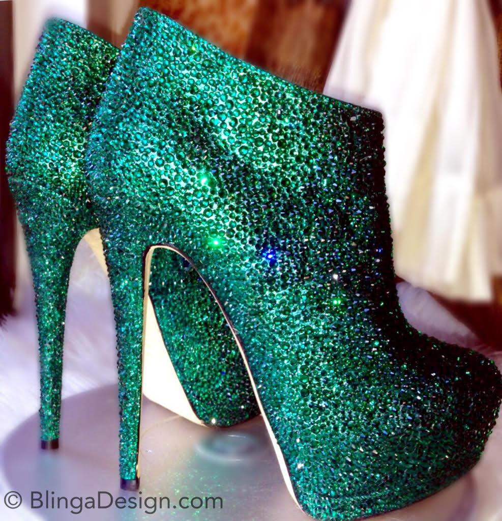 Giuseppe Zanotti Swarovski Crystal Emerald Strass Booties