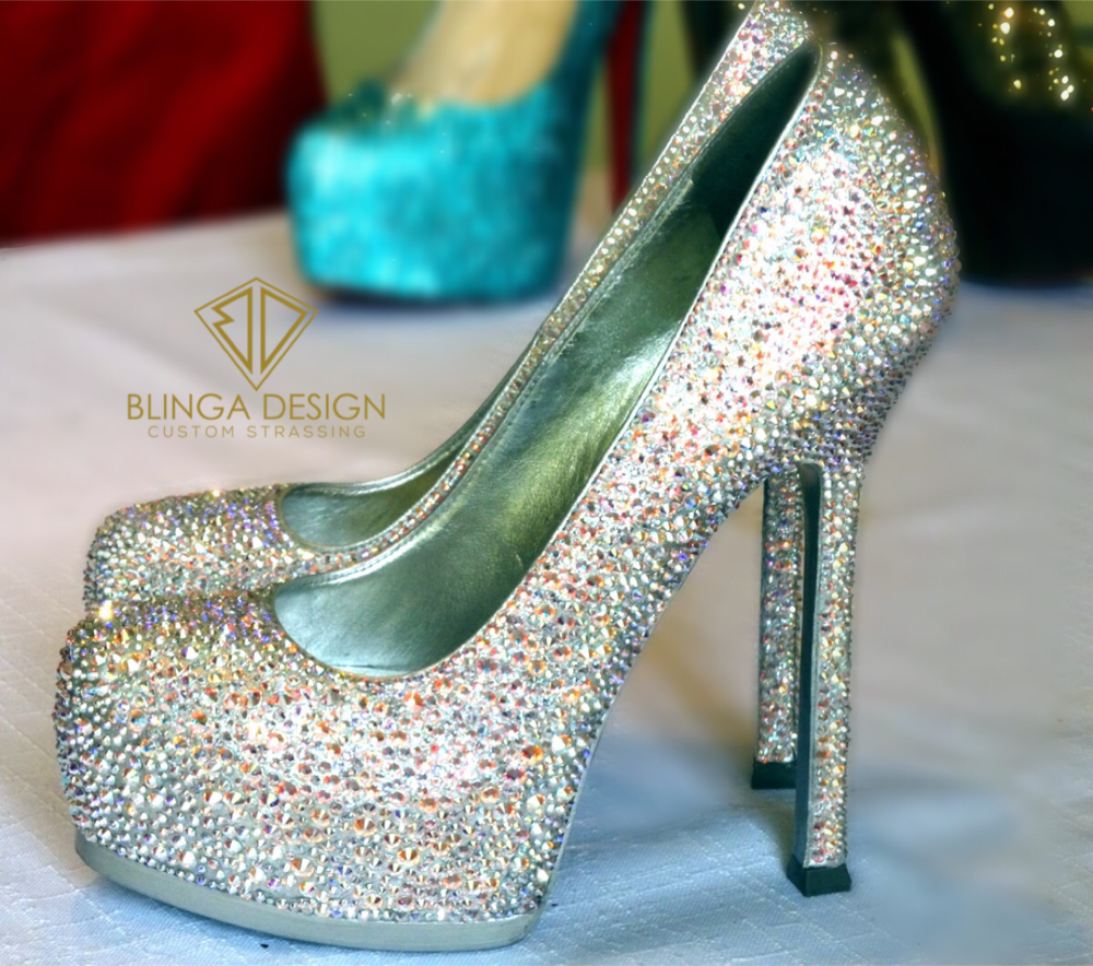 YSL Tribtoo Swarovski Crystal AB Pumps