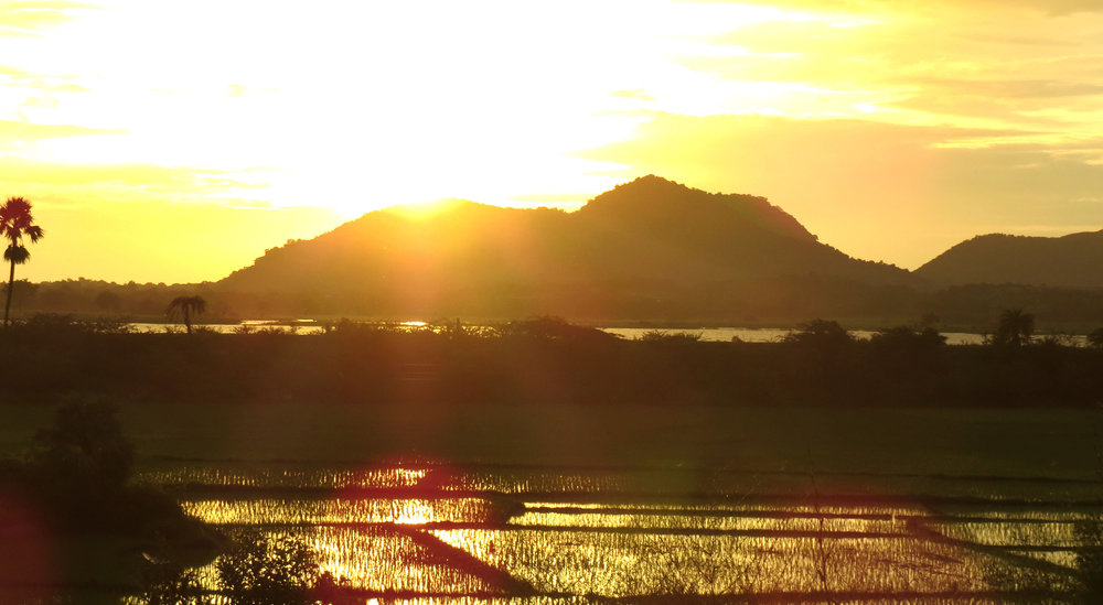 Sunrise over human-made lake irrigated fields