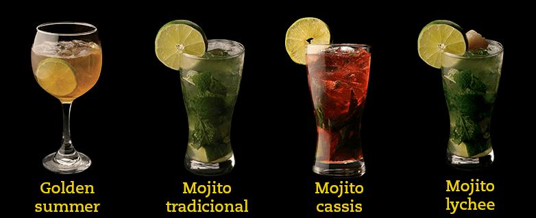 cocteles beer golden summer, mojito, mojito cassis, mojito lyche