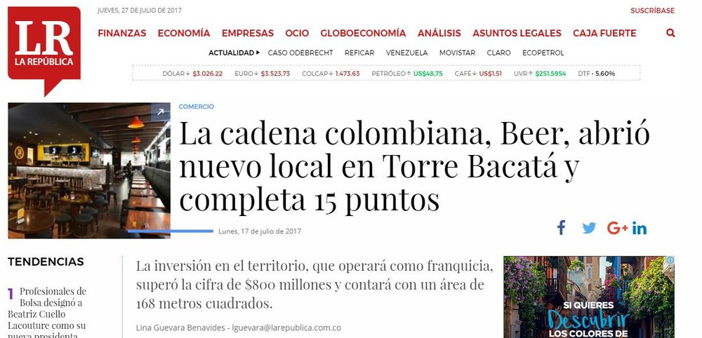 La cadena colombiana, Beer, abrió nuevo local en Torre Bacatá y completa 15 puntos