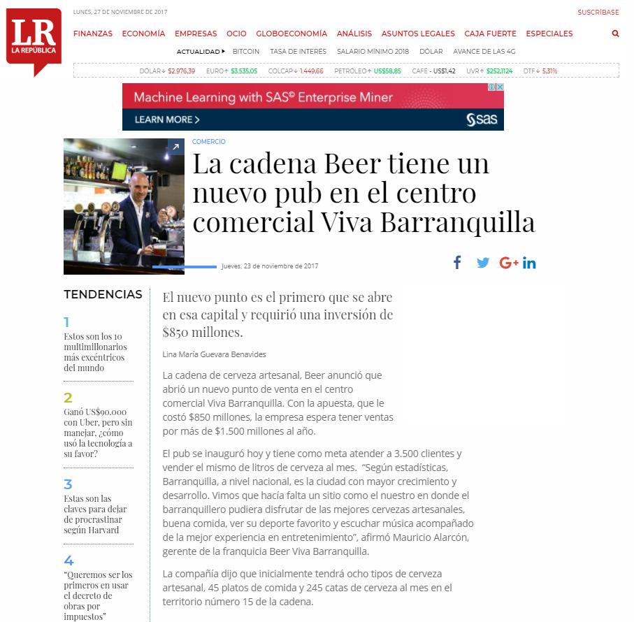 La cadena Beer tiene un nuevo pub en el centro comercial Viva Barranquilla
