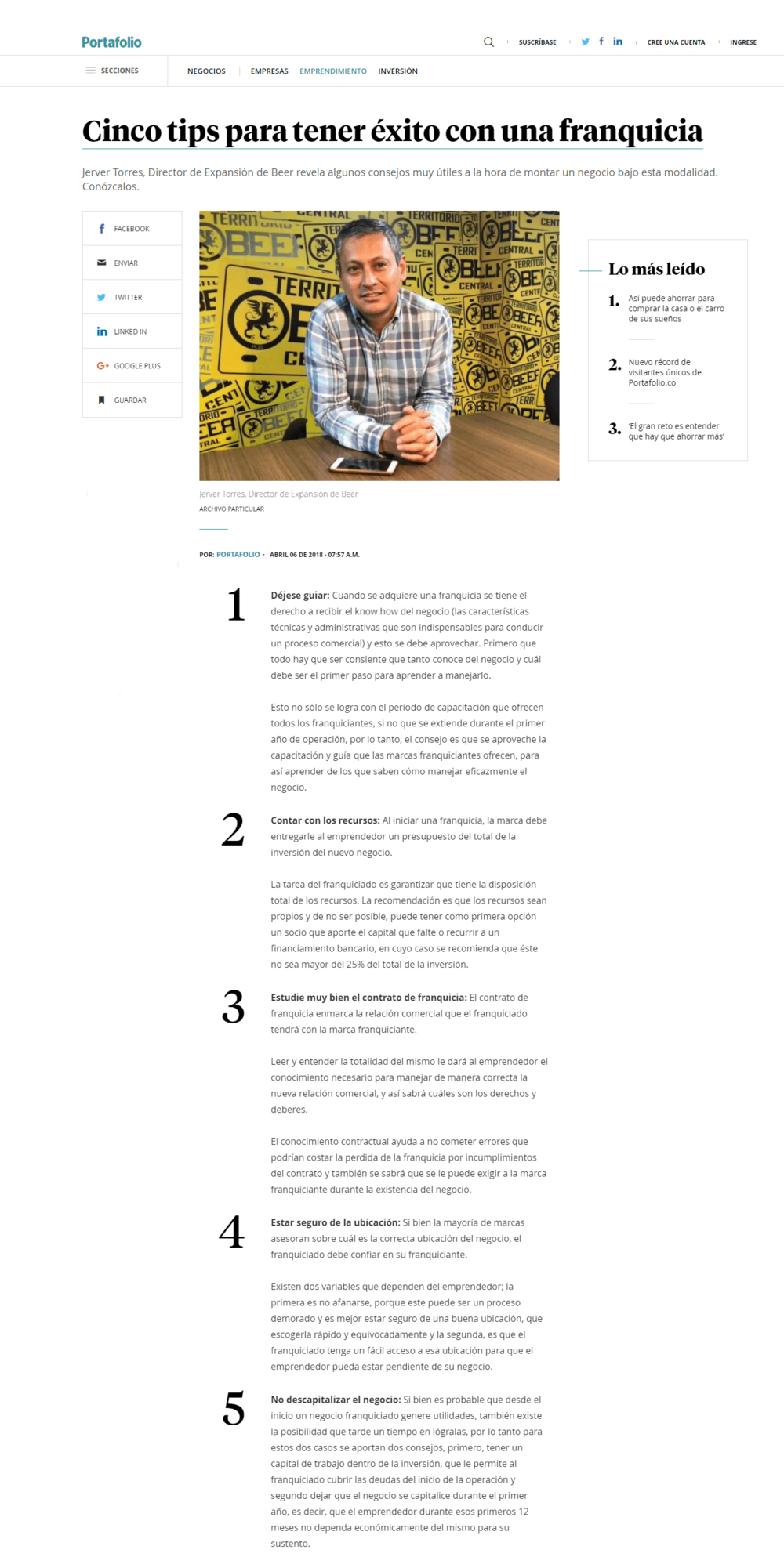 Copia de Cinco tips para tener éxito con una franquicia
