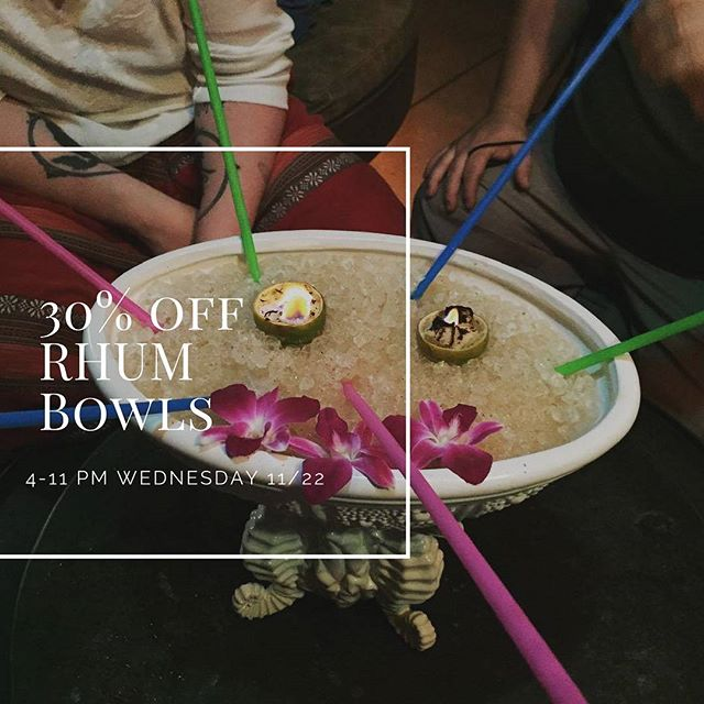Coming out with friends & fam tonight? Share a Rhum Bowl for 30% off! The family that shares together... #litfam #framily #rhumbowl #tikiaf