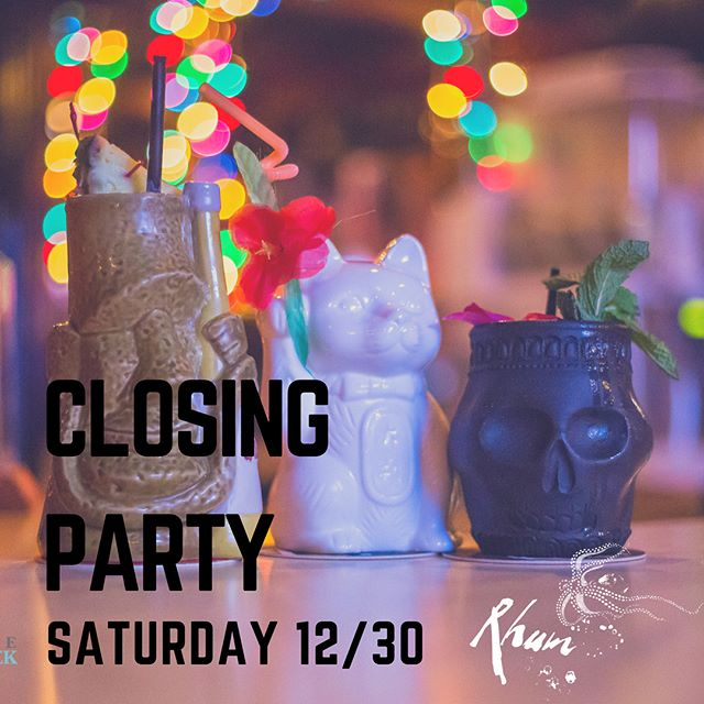 Rhum is closing its doors 😭 and the only way we can say a proper goodbye is with a boozy party. 🍹🍹🍹 This Saturday we hope you'll join us for a final mai tai 🌺 (or one of the more spirited tikis making a one time only appearance)! 4 pm-closing at 1 am. 🗿 Thank you for being a part of our tiki fun 💜💜💜 {Swipe to see our closing party drink menu.}