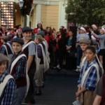 """NEWSIE"" dancers on Main Street at the Magic Kingdom waiting before filming at 5:00 AM."