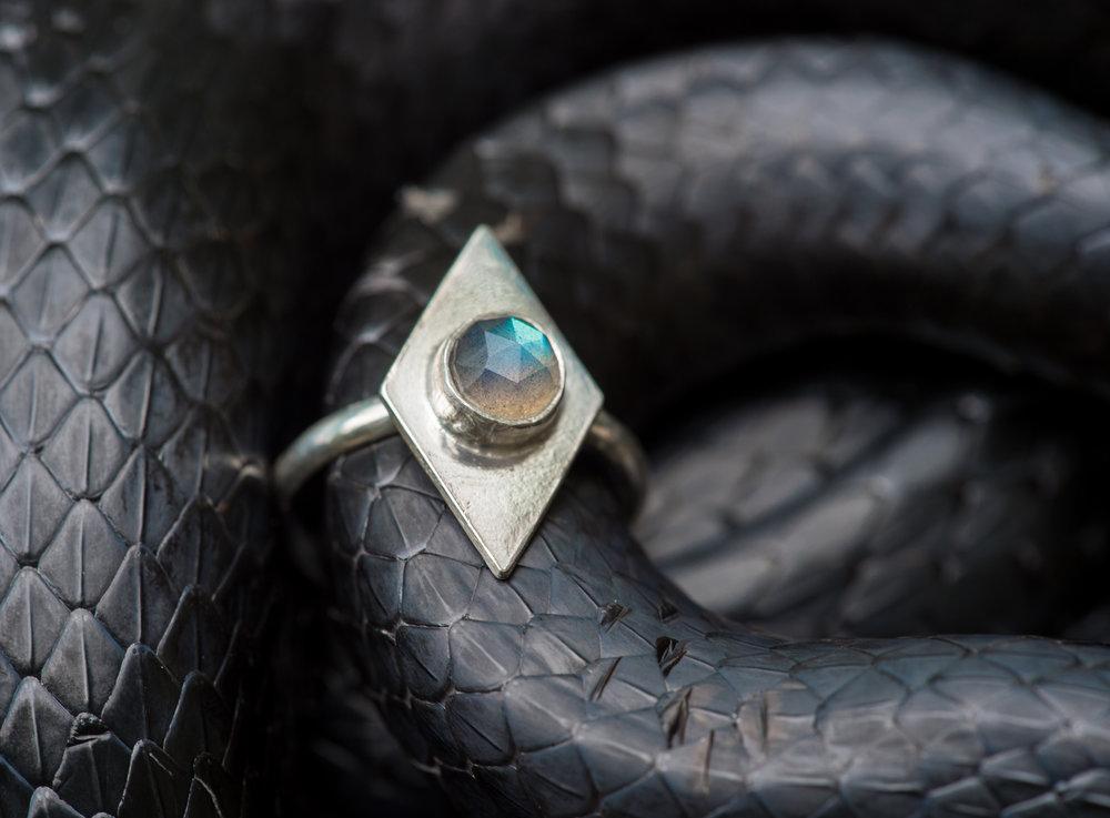 THE DIAMOND RING in labradorite ... by CARO DESIGNS
