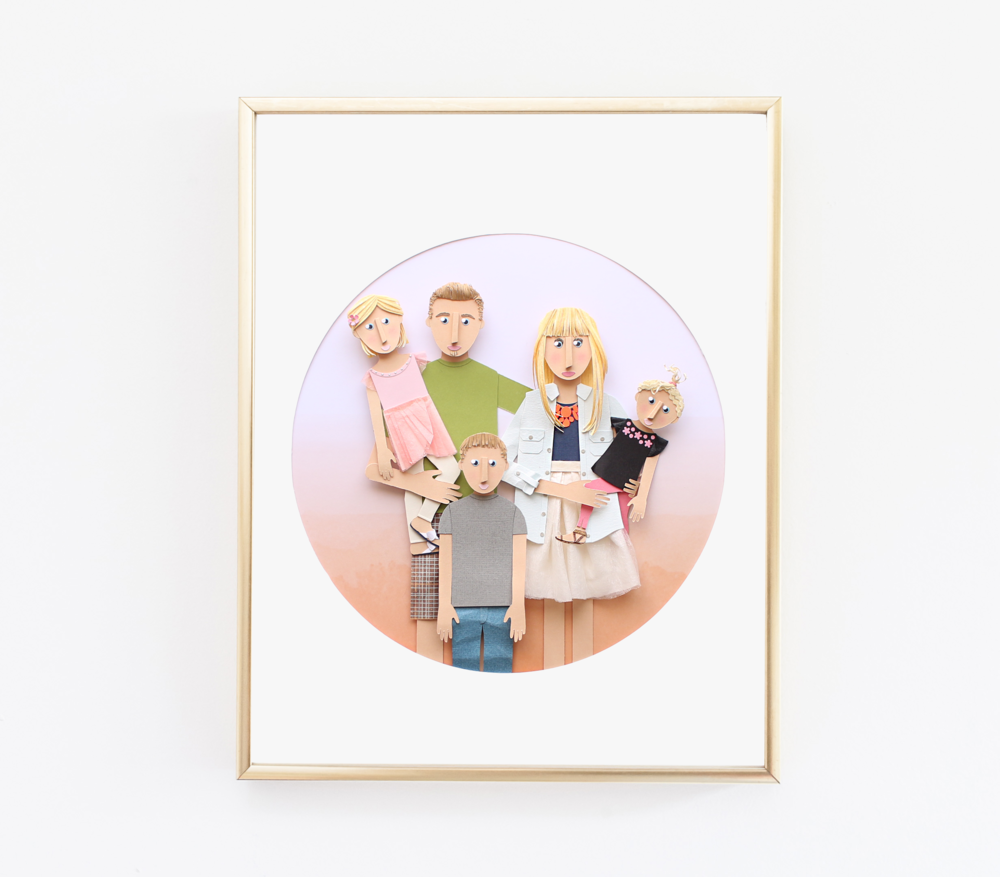 Custom Paper Cut Family Portrait