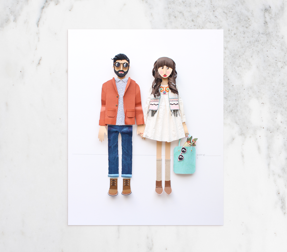 Custom Couple Portrait made from Paper by Artist Brittani Rose.