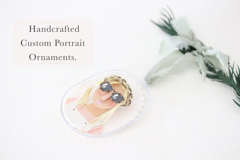 Custom paper portrait ornaments by paper artist Brittani Rose.