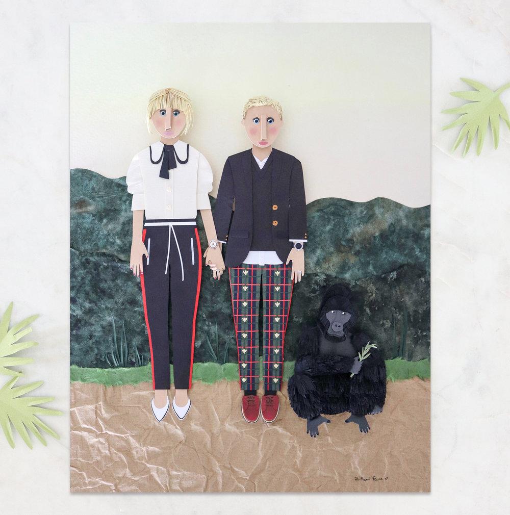 Custom portrait created out of paper for Ellen DeGeneres and Portia de Rossi