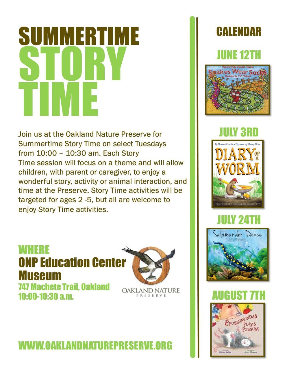 Please join us for this new summer program. - Summertime Story Time is offered free of charge but donations are gratefully appreciated and help to support future programs.Please use the form located below to let us know you will be joining in on the fun.