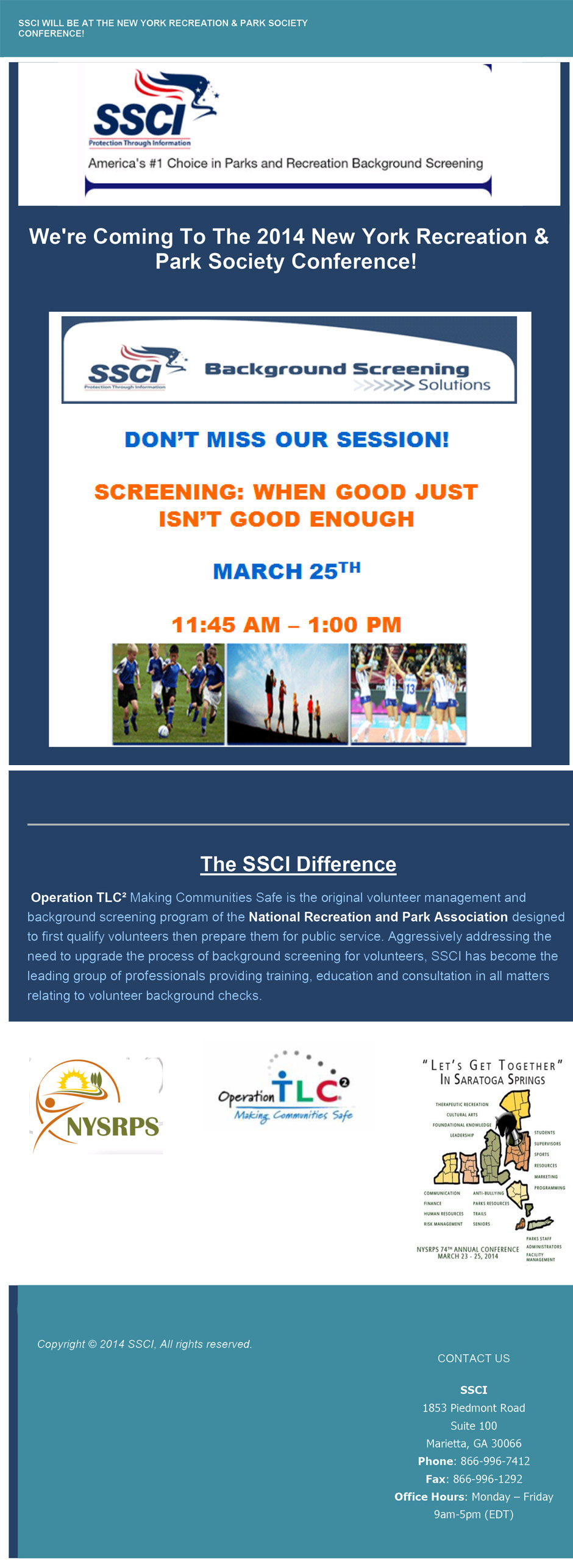 SSCI will be at the 2014 New York Recreation & Park Society Conference!