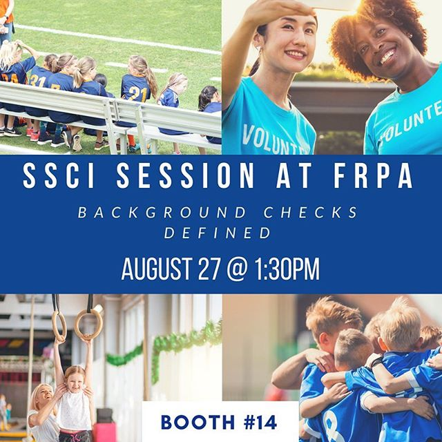 SSCI is at the Florida Recreation and Park Association Conference in Orlando! Visit us at Booth #14 and Don't miss out session: Background Checks Defined today @ 1:30! #FRPA #FloridaRecreation #Parksandrecreation