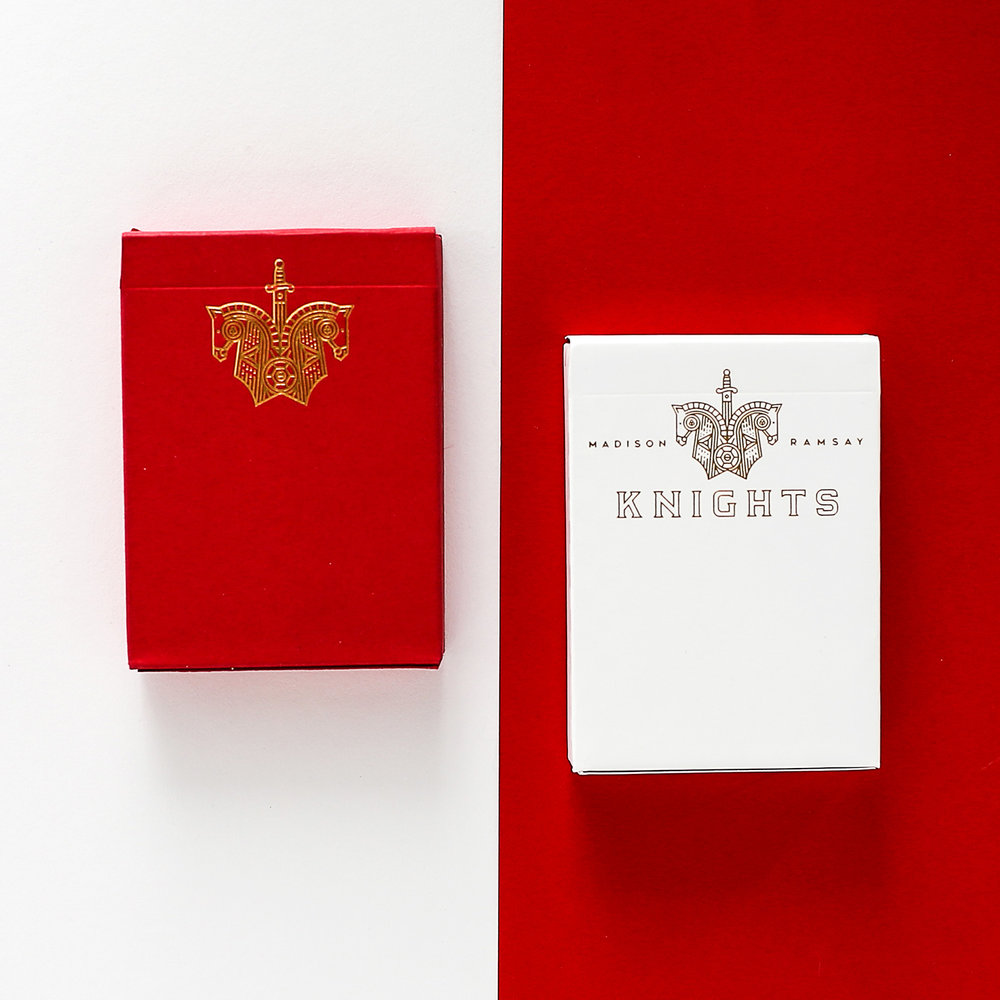Knights - A clean and modern deck design centred around chess, an ornate and classical game. This project gave a beautiful chance to tip perceptions on their head.Designed for Daniel Madison and Chris Ramsay.Available from Ellusionist