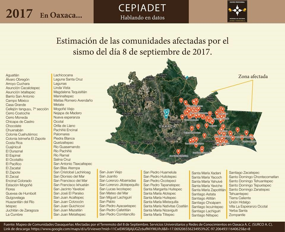 Fig.2. Map of Oaxaca and its communities, Oaxaca, Mexico, CEPIADET, September 2017