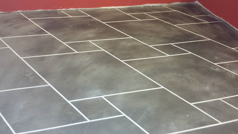 Our Elite Crete concrete flooring in our basement. Yes, that is a concrete product!