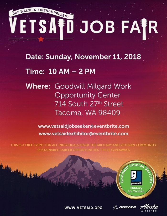 The first VetsAid Job Fair is here! - Open to all individuals from the military and veteran community who are seeking new and sustainable career opportunities in the Pacific Northwest. Please join us this Veterans Day before the show!
