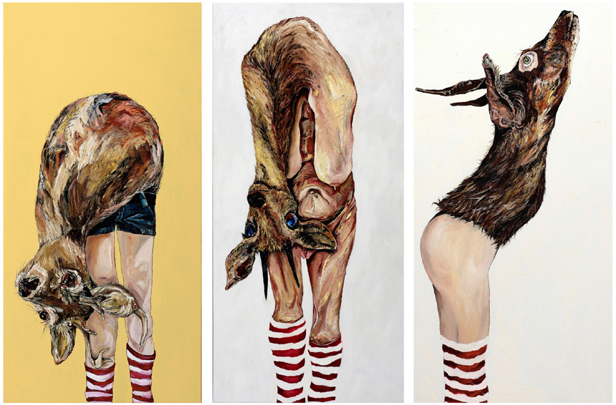 Deer Diary #1 - oil, acrylic and sharpie on canvas, 48x24 in. #2 - oil on canvas, 48x24 in. #3 - oil and fur on canvas, 48x24 in.