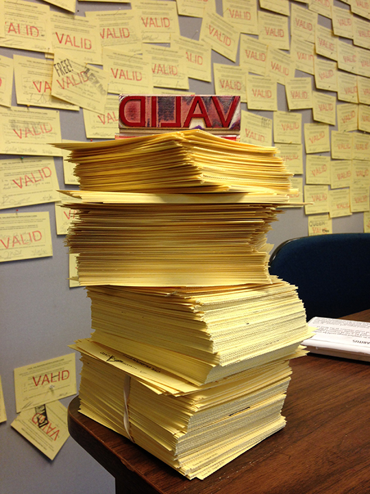 Hundreds of Civil Validation Cards complete with participants responses waiting to be mailed to Michigan Governor Rick Snyder. Photo by artist.