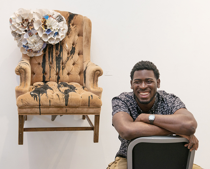 """Grandma's Throne"", by UNC 2017 MFA graduate Lamar Whidbee. Taken from the MFA group show, ""Time Will Tell"" at the Ackland Art Museum in Chapel Hill, NC. Exhibition dates: April 28 - June 4, 2017. Photo by Beth Mann, courtesy of ArtsNowNC."
