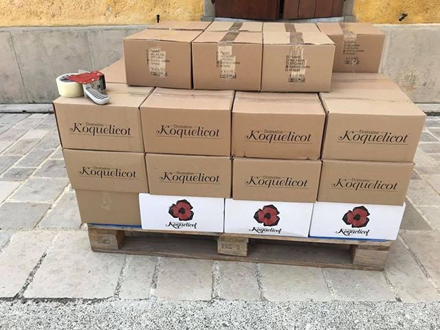 Well looky here, it's a pallet of delicious Koquelicot wines about to start their journey from Croatia to our warehouse in North Carolina, and eventually your wine glass! 😍🙌 . . . . . #wine #winetime #wineoclock #winelovers #croatianwine #winebiz #igwine