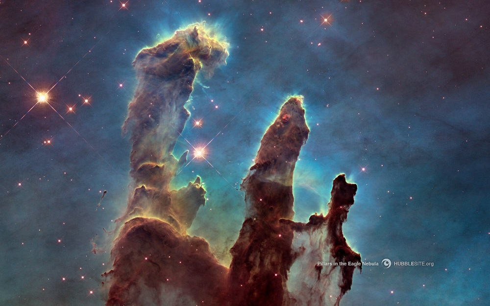 The Pillars of Creation, Eagle Nebula:  Clouds of hydrogen gas and dust in the process of forming stars. Credit: NASA, ESA, Hubble Heritage Team, J. Hester and P. Scowen (Arizona State University) hubblesite.org