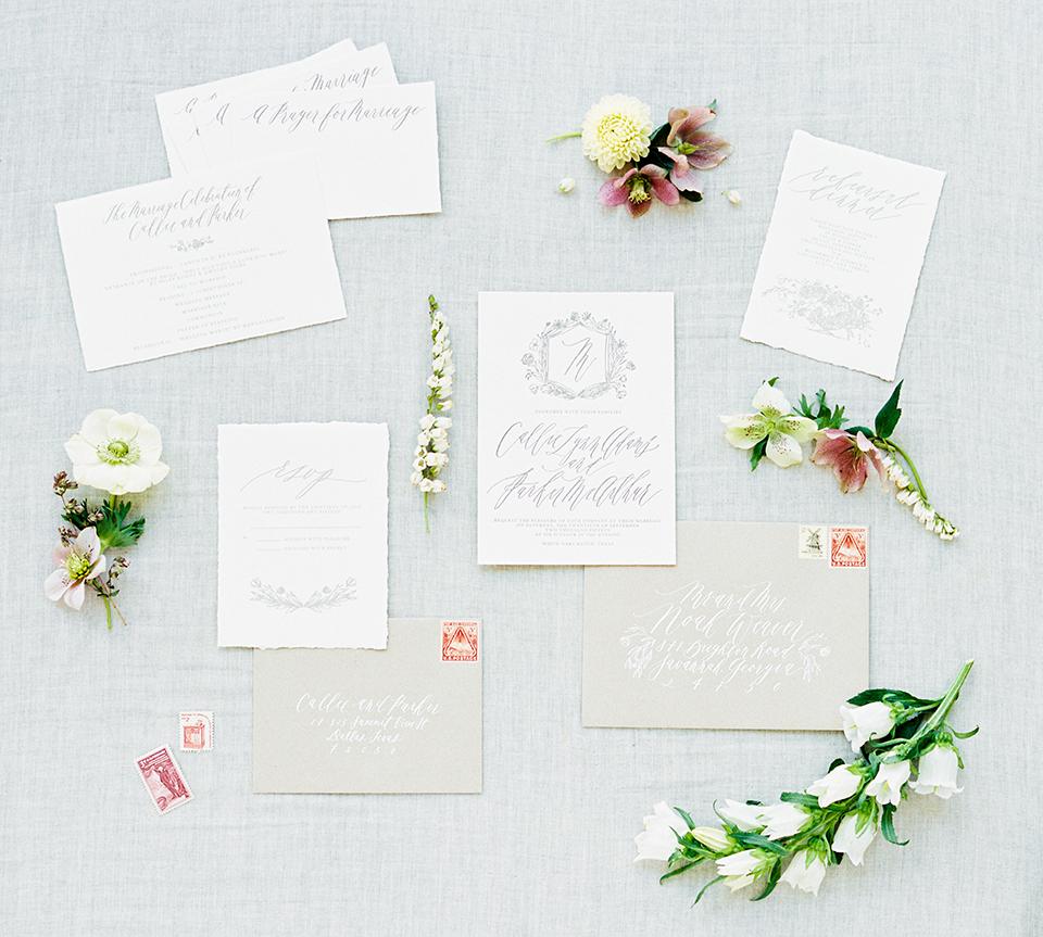 Taupe Letterpress Wedding Invitations / Southern Weddings Magazine ...