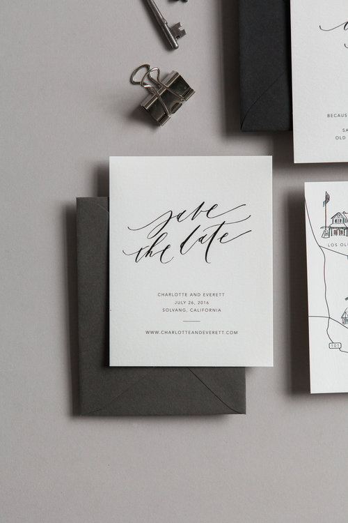 minimalist save the date suite written word calligraphy and design