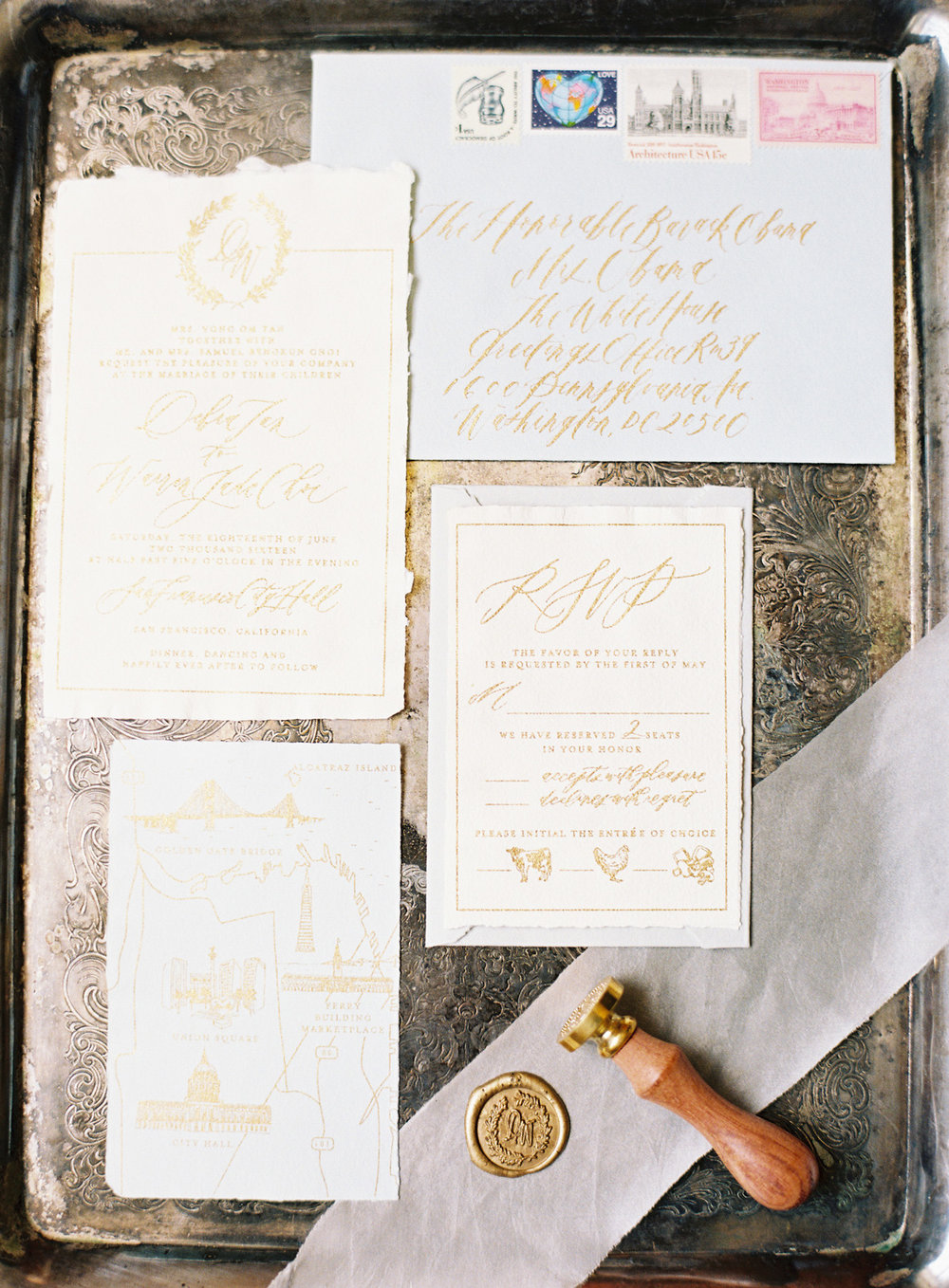 Dusty Blue and Gold Invitations // San Francisco City Hall ...