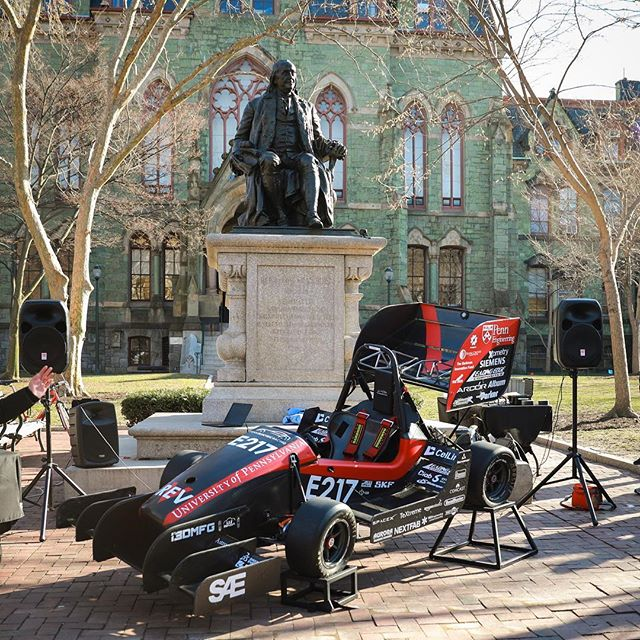With Ben looking down at us, we unveiled the team's sixth car, REV5, Tuesday on College Green.  We'd like to thank our sponsors along with the faculty and staff of the engineering school for making this possible! Stay tuned for updates as we get REV5 out testing in the next few weeks. #FSAE #UPenn #PennElectricRacing
