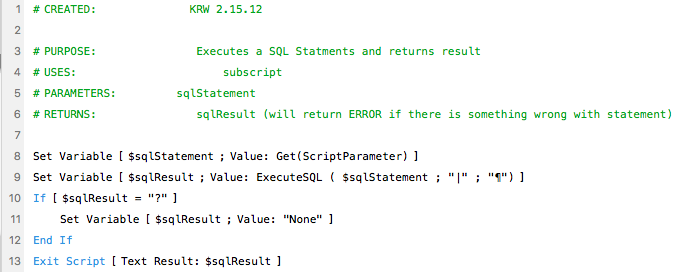 Execute SQL wrapper script