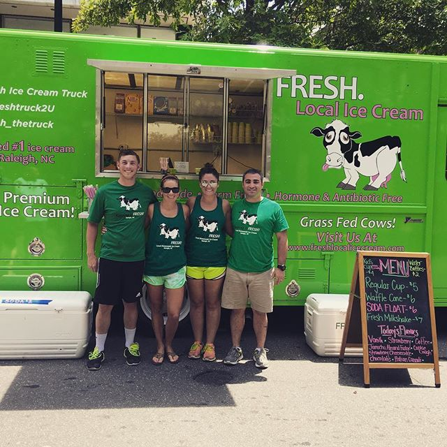 The dream team crushed the Raleigh rodeo today! Thank you so much for everyone that came out and supported the food trucks today downtown!! It was amazing! #freshlocalicecream #freshthetruck #raleighrodeo #foodtrucks