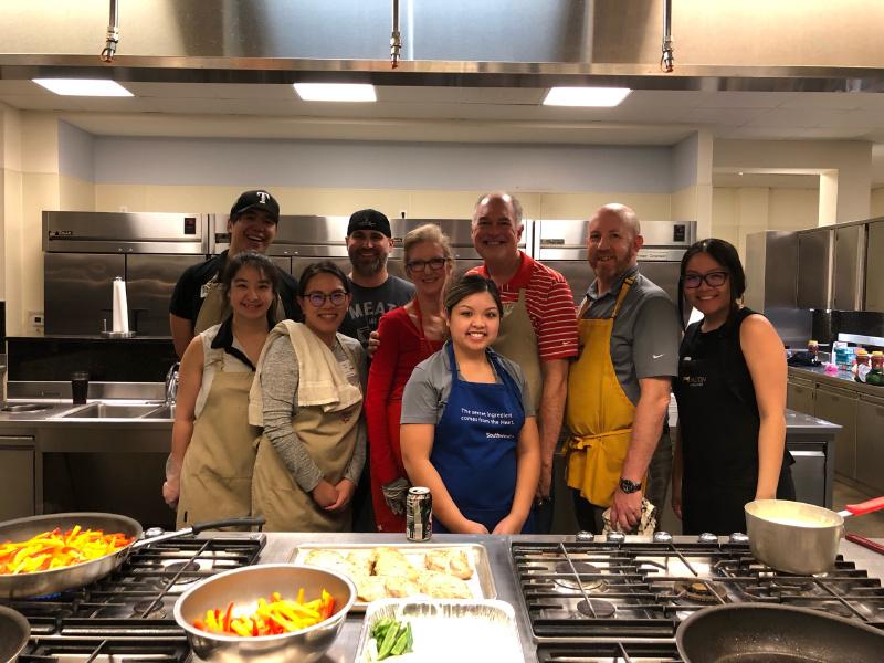 RF volunteers providing Tex-Mex favorites for dinner.